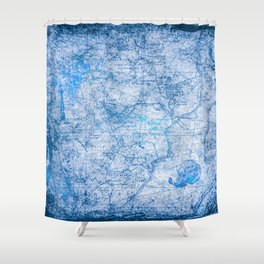 Blue Shimmer Map Design Shower Curtain