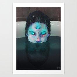 Demon in Bathtub Art Print