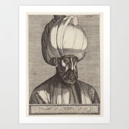 Portrait of  sultan Süleyman I, Melchior Lorck, 1559 Art Print