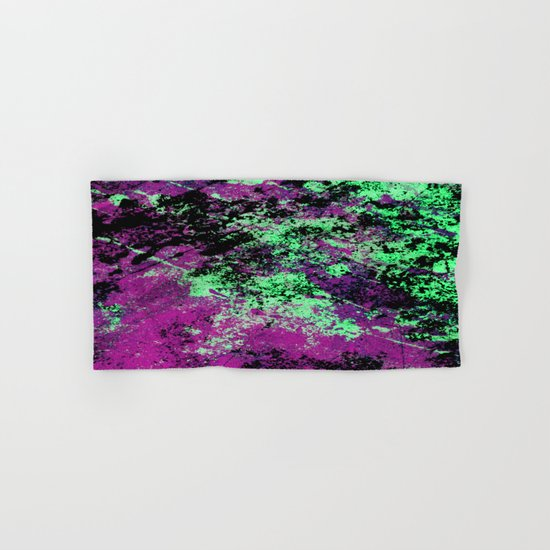 Colour Interaction II - Abstract purple, green and black textured, mixed media art Hand & Bath Towel