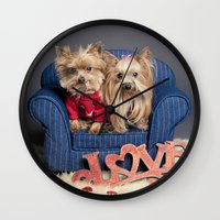yorkie Wall Clocks featuring Yorkie Love - Pet photography by Portrait Griffé par Geneviève Lacombe