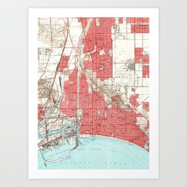 Vintage Map of Long Beach California (1949) 3 Art Print