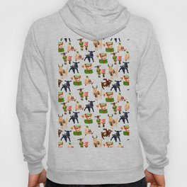 Christmas goats in sweaters repeating seamless pattern Hoody
