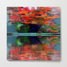 SURREAL RED POPPIES GREEN VASE REFLECTIONS Metal Print