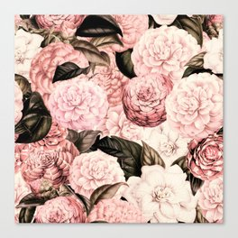 Vintage & Shabby Chic Pink Floral camellia flowers watercolor pattern Canvas Print