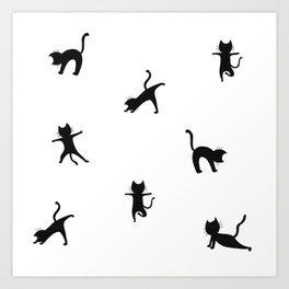 Yoga cats - black cats doing yoga Art Print