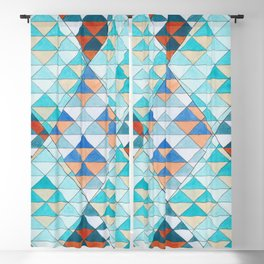 Triangle Pattern No.10 Shifting Turquoise and Orange Blackout Curtain
