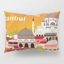 Istanbul, Turkey - Skyline Illustration by Loose Petals Pillow Sham