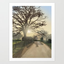 Danloes Cottage, Kenmare, Kerry Ireland illustration by Luis Aviles Art Print