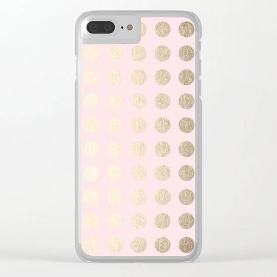 Simply Polka Dots White Gold Sands on Flamingo Pink Clear iPhone Case