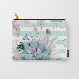 Succulents in the Garden Succulent Blue Stripes Carry-All Pouch