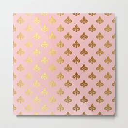 Royal gold ornaments on pink background Metal Print