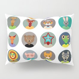 Set of animals faces circle icons set in Trendy Flat Style. zoo Pillow Sham