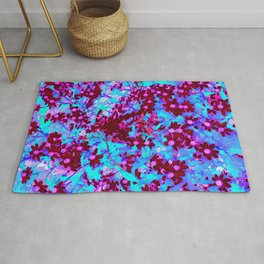 Crimson Red and Pink Wildflowers on Blue Rug