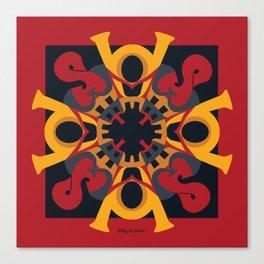 Home Sweet  Home Mandala - Red Black Canvas Print