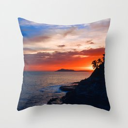 Tropical Sunset Rocky Cliff Side Throw Pillow