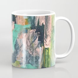 Connect: a vibrant acrylic abstract in neon green, blues, pinks, & hints of orange Coffee Mug