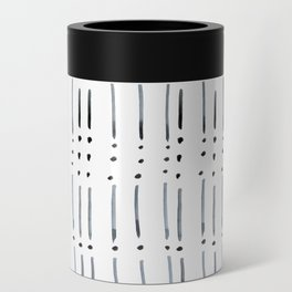 black and white dots and dashes boho modern Can Cooler