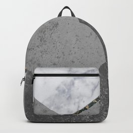 Marble Gray Copper Black Gold Chevron Backpack