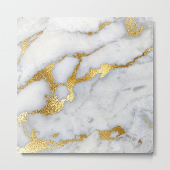 White and Grey Marble and Gold Metal foil Glitter Effect Metal Print