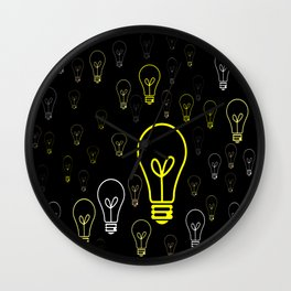 Numerous drawings of incandescent lamps type cartoons Wall Clock