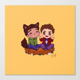 Awooo! Best Friends Howl Together Canvas Print