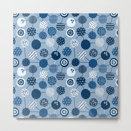 Connected Dots Blue Metal Print
