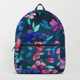 Southern Summer Floral - navy + colors Backpack