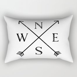 Black and White Compass Rectangular Pillow