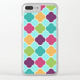 Quatrefoil Fun Pattern Clear iPhone Case