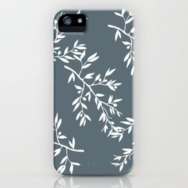 Olive Branches on Grey iPhone Case