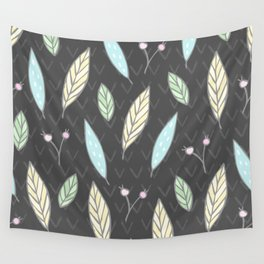 The One with the Leaves - Dark Gray Wall Tapestry