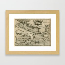 Vintage Map of Italy and Greece (1587) Framed Art Print