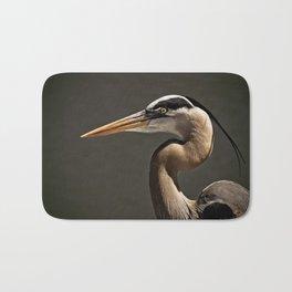 Great Blue Heron Close Up Portrait Bath Mat