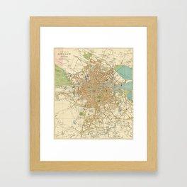Vintage Map of Dublin Ireland (1914) Framed Art Print
