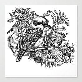 Kookaburra with flowers (Australia) Canvas Print
