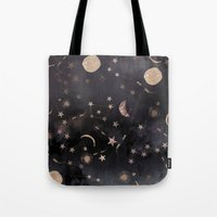 pink Tote Bags featuring Constellations  by Nikkistrange