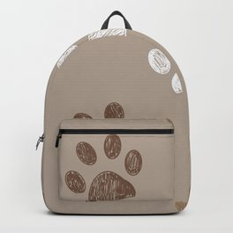 Brown colored paw print Backpack