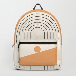 Geometric Lines in Gold and Black 8 (Rainbow Sun Mountain) Backpack
