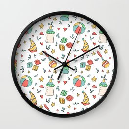 Hand drawn ball, baby bottle, rattle and stars.  Wall Clock