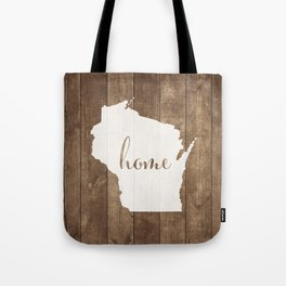 Wisconsin is Home - White on Wood Tote Bag