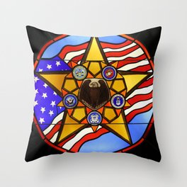 United States Armed Forces Glass Mosaic Throw Pillow