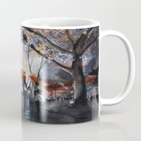 rain Mugs featuring Autumn rain - watercolor by Nicolas Jolly