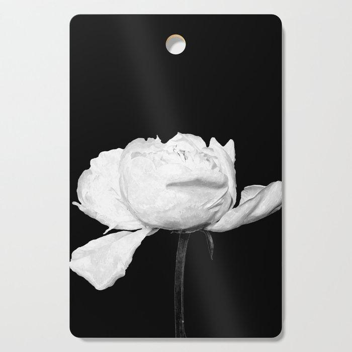 White Peony Black Background Cutting Board