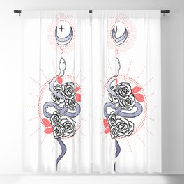 Snake and Roses Blackout Curtain