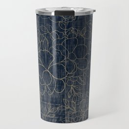 Rustic blue white wood gold floral Travel Mug