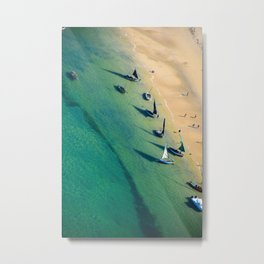 Indian Ocean Fishing Boats off Mozambique. Vivid Photo of the Blue/Green Sea. Metal Print
