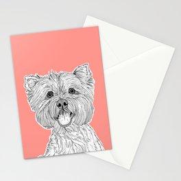 West Highland Terrier Dog Portrait ( coral background ) Stationery Cards