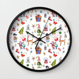 Christmas seamless texture on white background. Merry Christmas characters Wall Clock