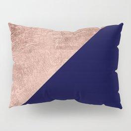 Minimalist rose gold navy blue color block geometric Pillow Sham